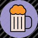 ale, beer, beer mug, beverage, chilled beer, drink, party icon