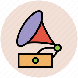 multimedia, music player, record player, vintage record player, vinyl player icon