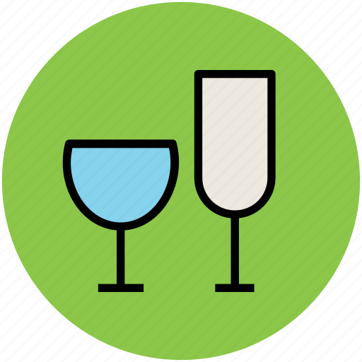 alcohol, beverage, celebration, drink, glasses, wine glasses icon