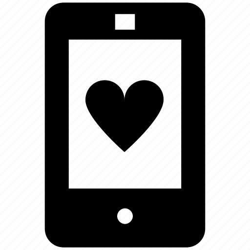 device, favorite, heart, love, mobile, phone, smartphone icon