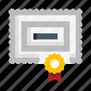 certificate, diploma, patent, document, paper, seal, graduate