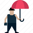 businessman, inventor, man, man with umbrella, person, umbrella icon