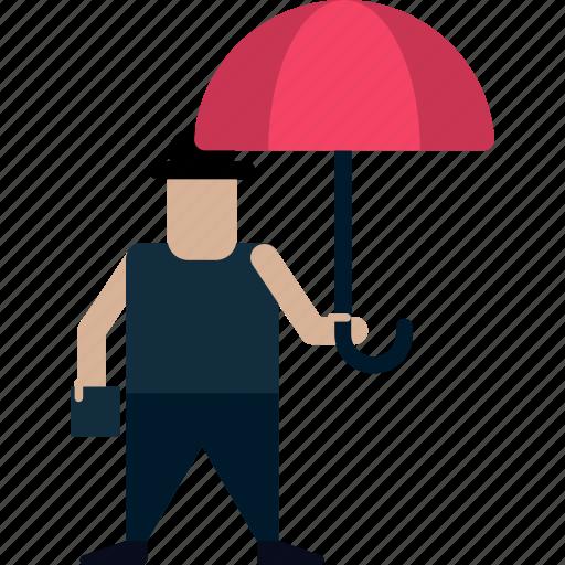 businessman, inventor, man, man with umbrella, person, umbrella icon
