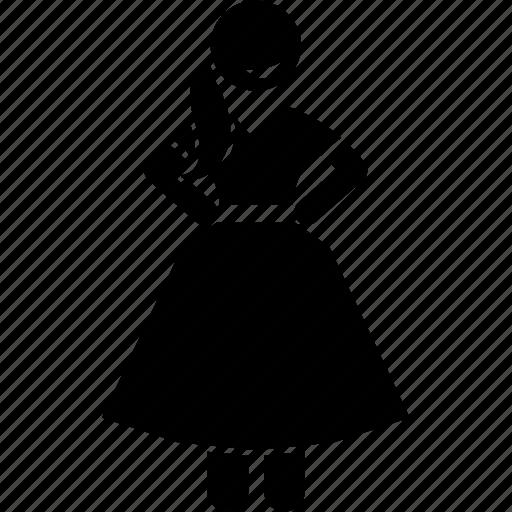 blouse, peculiar, quaint, skirt, unusual, woman icon