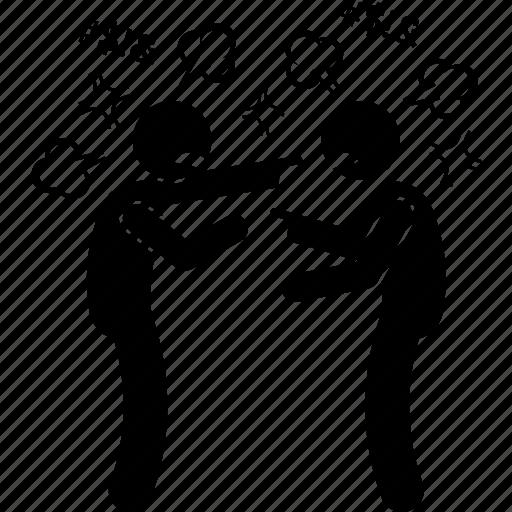 argue, bickering, blaming, dispute, people, quarrel, quarrelsome icon
