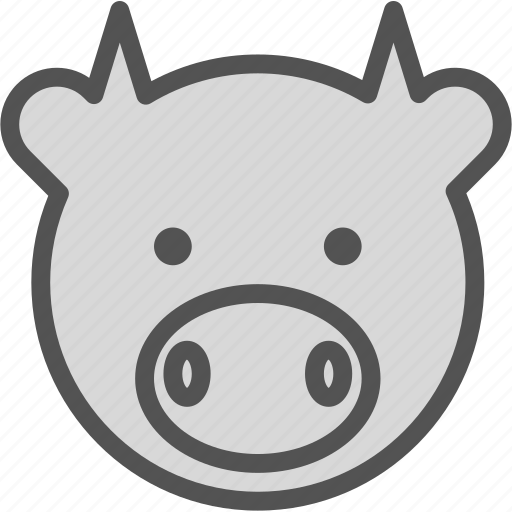 animal, avatar, character, cow, meat, profile, smileface icon
