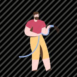 character, builder, gardening, man, male, water, hose