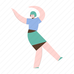character, builder, gesture, skirt, woman, female, person
