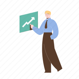 character, builder, increase, arrow, chart, man, male