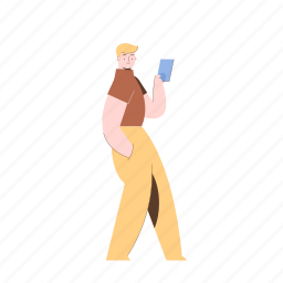 character, builder, smartphone, phone, man, male