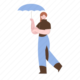 character, builder, umbrella, protection, weather, female, woman