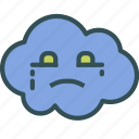 avatar, blue, cloud, crying, face icon