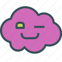 avatar, cloud, happy, wink icon