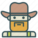 avatar, cowboy, farm, human icon