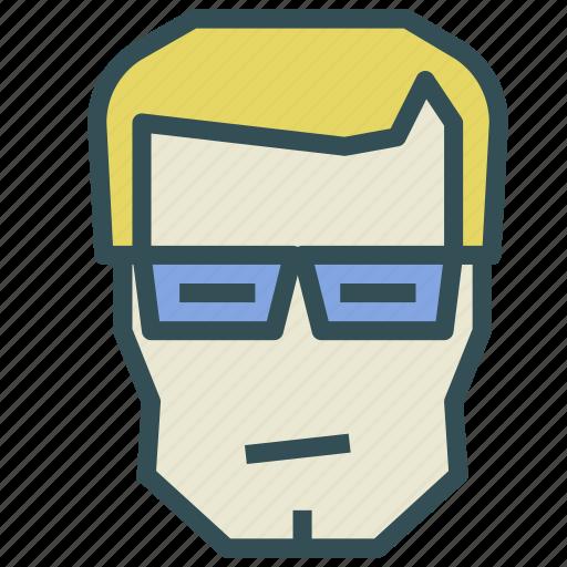 avatar, glasses, human, man, normal icon