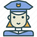 avatar, female, human, officer, police icon