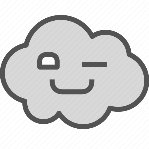 avatar, cloud, happy, wink icon