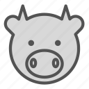 animal, avatar, bovine, cow icon