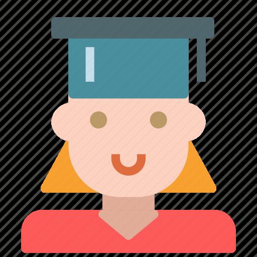 avatar, female, graduate, human, school, student icon