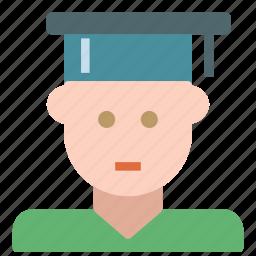 avatar, graduate, human, man, school, student icon