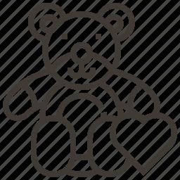heart, love, stuffed animal, teddy bear icon