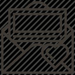 envelope, heart, message, valentine icon