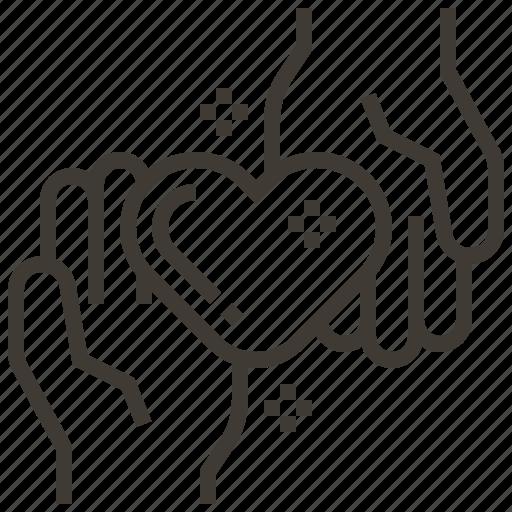care, hands, heart, love icon