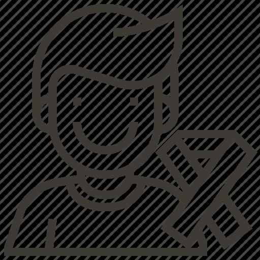 avatar, boy, man, ribbon icon