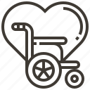 disability, heart, medical, wheelchair icon