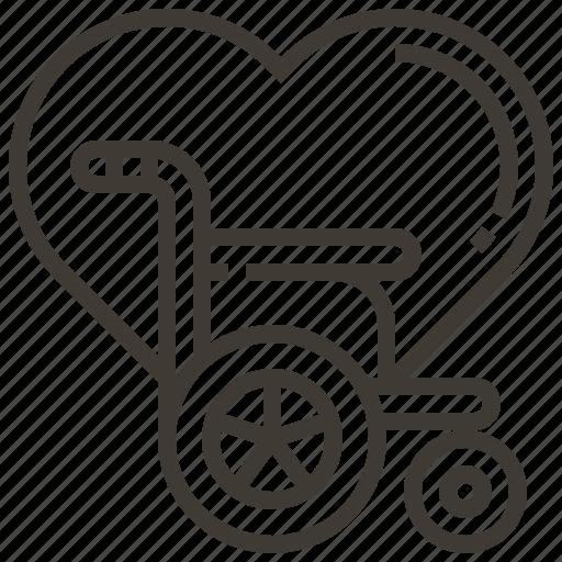 Heart, medical, disability, wheelchair icon