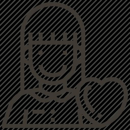 avatar, girl, heart, woman icon