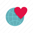 earth, ecology, globe, heart, love, planet, world icon