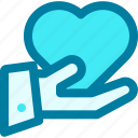 give, donation, giving, heart, money, provide icon