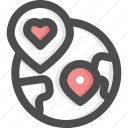 charity, donation, heart, internet, location, position, worldwide icon