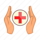 cartoon, charity, cross, family, hand, medicine, sign icon