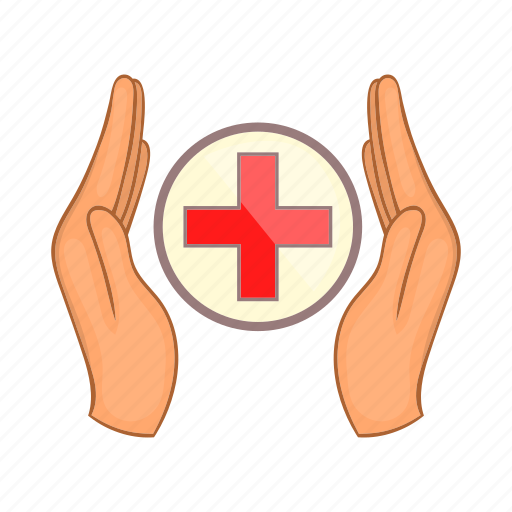 cartoon, charity, cross, family, hand, medicine, sign icon