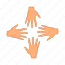 arm, cartoon, four, hand, people, strong, team