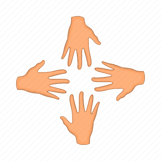 arm, cartoon, four, hand, people, strong, team icon