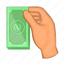 business, cartoon, dollar, hand, holding, style, wealth icon