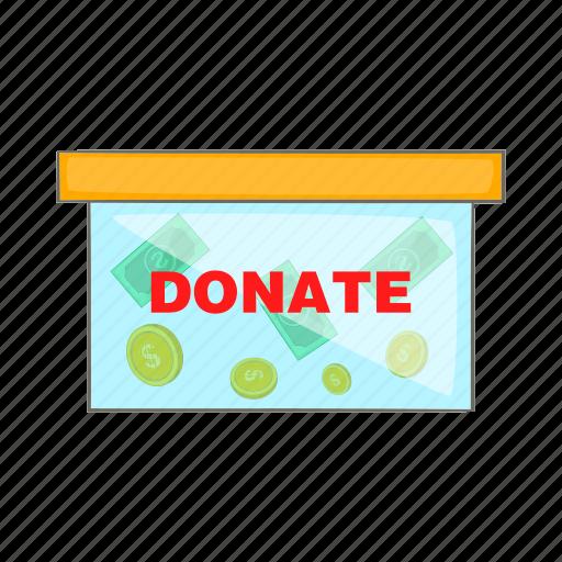 box, cartoon, charity, coin, donate, insert, style icon