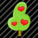 abstract, beautiful, cartoon, heart, love, red, tree icon