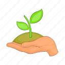 cartoon, dirt, green, growth, hand, plant, sprout