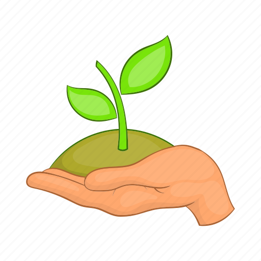cartoon, dirt, green, growth, hand, plant, sprout icon