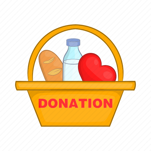assistance, box, cartoon, donate, donation, food, grocery icon