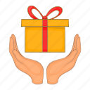 box, cartoon, celebration, gift, giftbox, hand, surprise icon