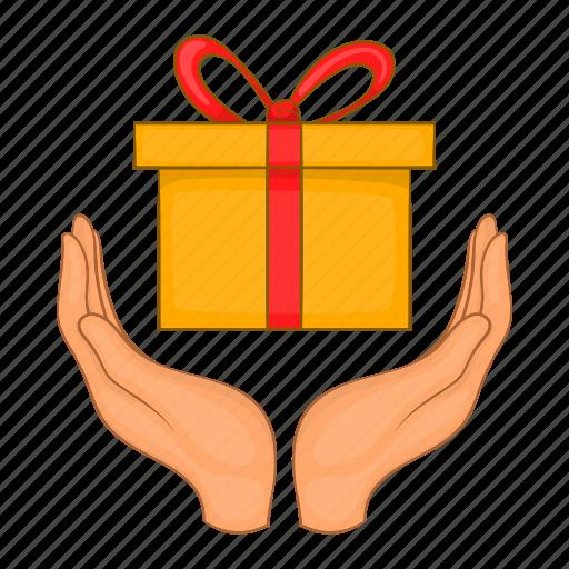 box, cartoon, celebration, gift, giftbox, hand, surprise icon