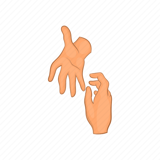 cartoon, friend, hand, help, helping, hope, support icon