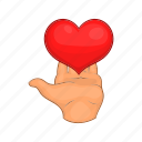 heart, love, gift, giving, hands, cartoon, red icon