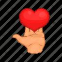 heart, love, gift, giving, hands, cartoon, red