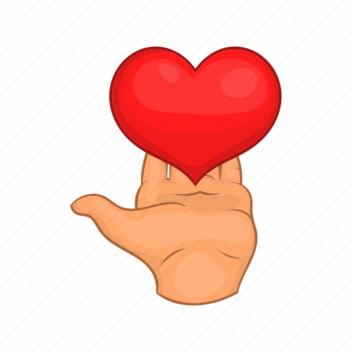 cartoon, gift, giving, hands, heart, love, red icon